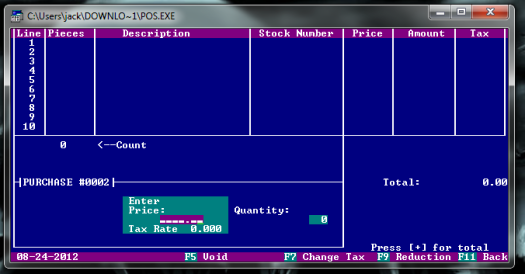 A Free DOS Based POS System for small business