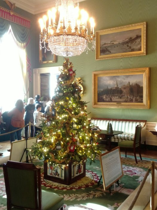 Christmas trees with white lights line a hallway at the White house